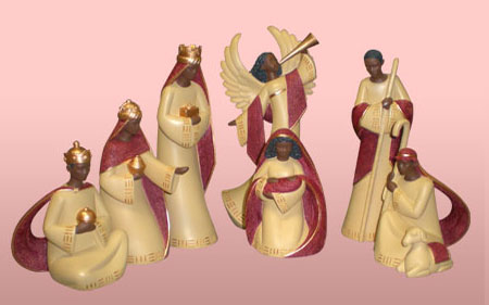 Nativity Set Cream/Red, 7pcs 4-8H           *